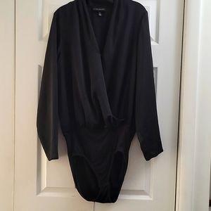 Black faux wrap bodysuit
